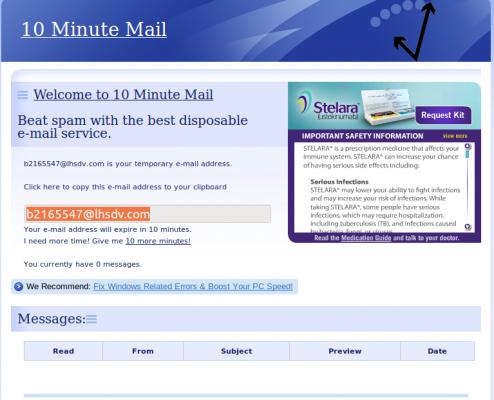 Crea una cuenta de correo desechable.